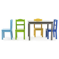 Magic Garden Table And Chairs Tot Tutors Elements Grey Wood Table And 4 Colored Chairs Set
