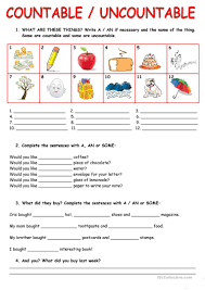 Countable And Uncountable Nouns List 77 Free Esl Uncountable Nouns Worksheets