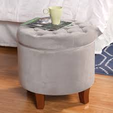velvet tufted round ottoman with storage homepop