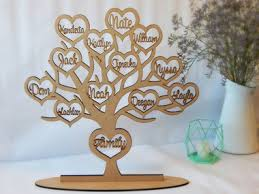 family tree with names on stand wooden display by occasions