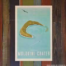 Hawaii travel products images Molokini crater 12x18 retro hawaii travel print nick kuchar jpg