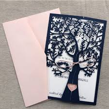 tree wedding invitations navy blue fresh tree laser cut wedding invitation wlc013 wedding