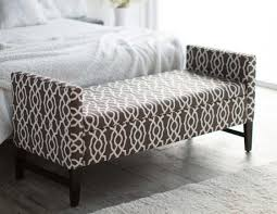 end of the bed storage bench with brown geometric design home