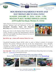 weston household hazardous waste and electronics recycling event
