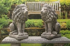 Outdoor Lion Statue by Pair Of Stone Lions Statues Garden Ornaments Amazon Co Uk Garden
