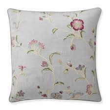 aerin climbing floral embroidered pillow cover dove blue