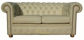 Chesterfield  Seater Cream Leather Sofa Offer - Cream leather sofas