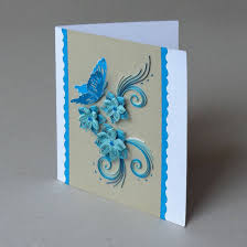 paper greeting cards 3d cards quilled paper handmade greeting card in blue ooak a