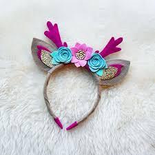 felt flower headband deer antlers with ears handmade felt flower headband with glitter