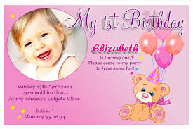 Example Of Invitation Card First Birthday Invitation Cards Vertabox Com