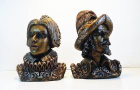 home decoration statues large marwal bust spanish royals and explorers chalkware pair