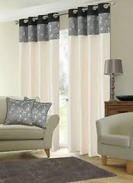 Black And Grey Curtains Stylish Faux Silk Ringtop Eyelet Lined Metallic Floral Black Grey
