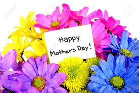 colorful mothers day flowers with gift tag stock photo picture