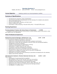 Resume Examples For Entry Level Jobs by Career Objective Seeking Job Position As A Nursing Assistant