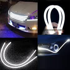 led strip lights headlights car water proof 2pcs 60cm drl daytime running light flexible led