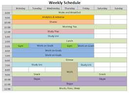 Excel Template Schedule Weekly Schedule Template Printable Week Schedule Template Week