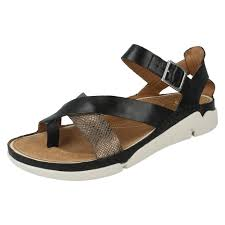 ladies clarks leather toe post strappy casual summer sandals tri