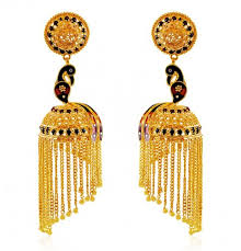 peacock design earrings in gold 22k gold peacock jhumki ajer60502 22k gold indian design