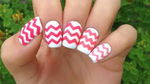tri colored chevron nail art