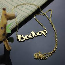 nameplate necklace plated create your own name necklace 18k gold plated