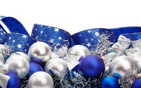 White Christmas Tree Decorations Blue by Blue White Ribbons Christmas Ornaments White Background Christmas
