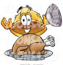 cartoon images of thanksgiving turkey illustration of a cartoon hard hat mascot serving a thanksgiving