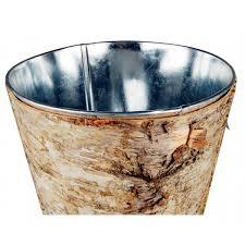 Wood Vases Wholesale Set Of 3 Natural Birch Wood Wrapped Tapered Zinc Cylinder Vases