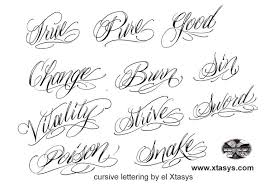 collection of 25 cursive lettering font designs