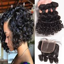 bob hair extensions with closures 100 virgin remy brazilian human hair 8a quality 3 bundles of