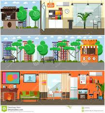 vector set of gadgets interior concept posters design elements
