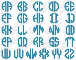 monogram letter circle monogram 2 letter font svg cut file set in svg eps dxf