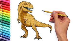 drawing and coloring t rex color page with jurassic park