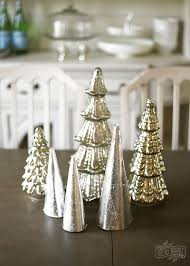 diy silver leaf paper cone trees for tabletop decor