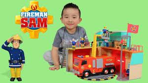 fireman sam fire station jupiter fire truck engine toys unboxing