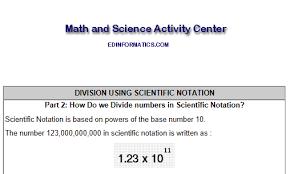 seventh grade interactive math skills exponential notation