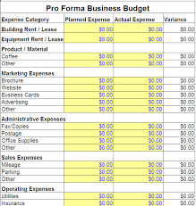 Free Business Plan Template Excel Pro Forma Business Budget Template Pro Forma Business Template