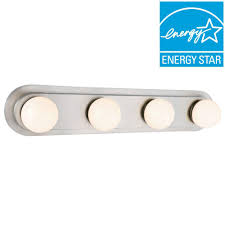 integrated led vanity light hton bay 160 watt equivalent 4 light brushed nickel integrated