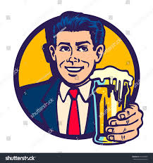 beer cheers cartoon cheers vintage midcentury man holding beer stock vector 515459920