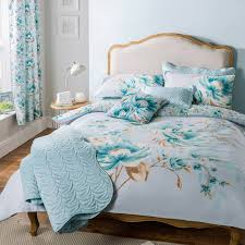 blue flora cotton blend kingsize bedding set brandalley