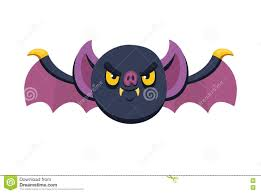 halloween angry bat with open wings in cartoon and flat icon style
