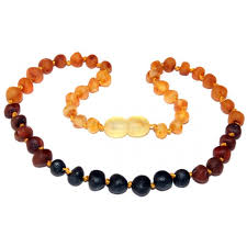 baby bead necklace images Raw baltic amber children baby teething necklace rainbow baroque beads jpg