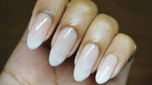 no tools easy subtle french fade on natural nails nail art