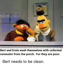 Ernie Meme - bert and ernie wash themselves with collected rainwater from the