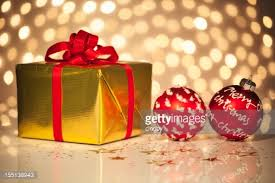 Decorative Christmas Gift Boxes Golden Christmas Gift Box Stock Photo Getty Images