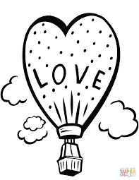 love balloon with gift coloring page free printable coloring pages