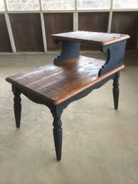 Refurbished End Tables by Two Toned Two Tier Antique End Table Diy Pretty Penny Furniture