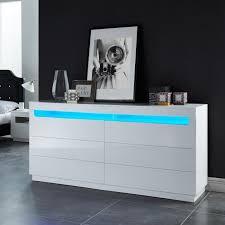 chambre laqué blanc brillant boreal commode de chambre avec led style contemporain laquee blanc