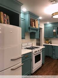 my finished for now kitchen from kelly green to teal before u0026 after
