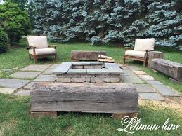 Diy Fire Pit Patio by Stone Patio Diy Fire Pit U0026 Wood Beam Benches Patio Fire Pits