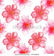 Flower Design For Scrapbook Seamless Pattern Watercolor Flowers Blue Hand Stock Vector